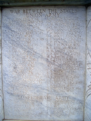 """""""W"""" or """"J"""" was used behind each name to designate either Washington College or Jefferson College. The colleges later merged to become Washington and Jefferson College. David's name was added later, appearing at the bottom of the second column under """" War Between the States - Union Army """""""