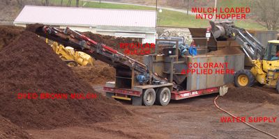 Photo shows the mulch dyeing process:   1. Regular mulch is stockpiled to the rear of the machine. 2. A front loader dumps regular mulch into the hopper. 3. Colorant is mixed with water and sprayed onto the mulch. 4. Dyed mulch travels up a conveyor onto a stockpile.