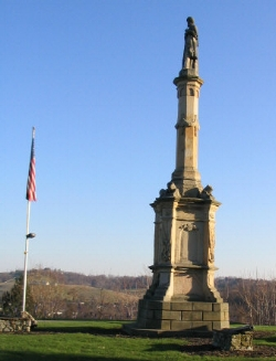 """Monument in Washington Cemetery - Washington, Pennsylvania   """"This monument is erected by the people of Washington County in honor of her devoted sons who died for their country in the great rebellion"""""""