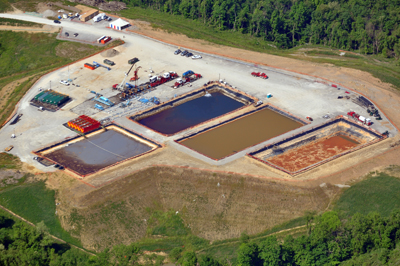 """THE PITS NEAR PITTSBURGH""   Massive volumes of water are destroyed by fracking, first with additives that can be carcinogenic and are often endocrine disruptors, then by the salts, heavy metals, and radioactive elements carried back up from the deep shale in flowback. Frackers are having a hard time getting rid of it all."