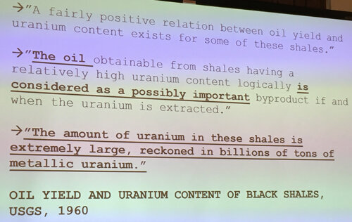 """The amount of uranium in these shales is  extremely large , reckoned in billions of tons of metallic uranium."""