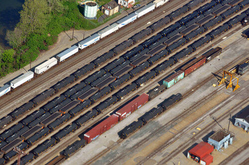 Conway Railyard with black crude oil and LPG tank cars. Recent pipeline problems have led to more of these products travelling across Pennsylvania by rail. The cracker plant, now under construction north of Pittsburgh, will add its own fleet of railcars to the mix.