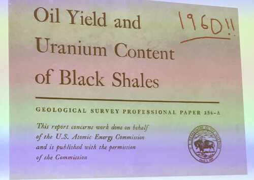 1960  Geological Survey Professional Paper 356-A titled OIL YIELD AND URANIUM CONTENT OF BLACK SHALES - Department of the Interior