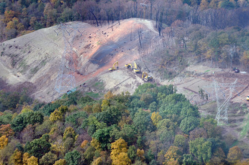 The Revolution Pipeline explosion occurred on a steep western Pennsylvania slope, north of Pittsburgh, in October 2018.