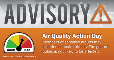 CODE ORANGE ADVISORY - Air quality action day - Members of sensitive groups may experience health effects.