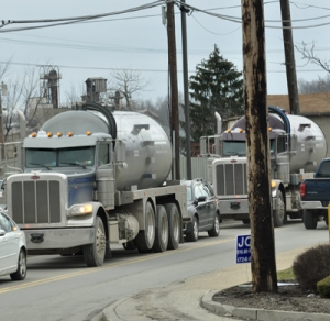 """Wastewater tankers are a common sight around oil and gas fracking in western Pennsylvania. Their """"Residual Waste"""" placards don't fully reveal the radioactive toxic waste they may be carrying."""